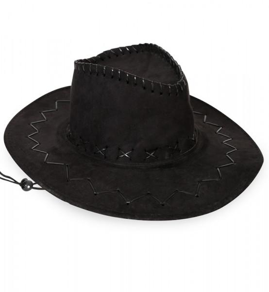 Cowboyhut in schwarz | Cowboykostüm | Karneval Fasching | Westernhut | Wildlerderoptik | Abenteurerhut | Kopfbedeckung für Karneval