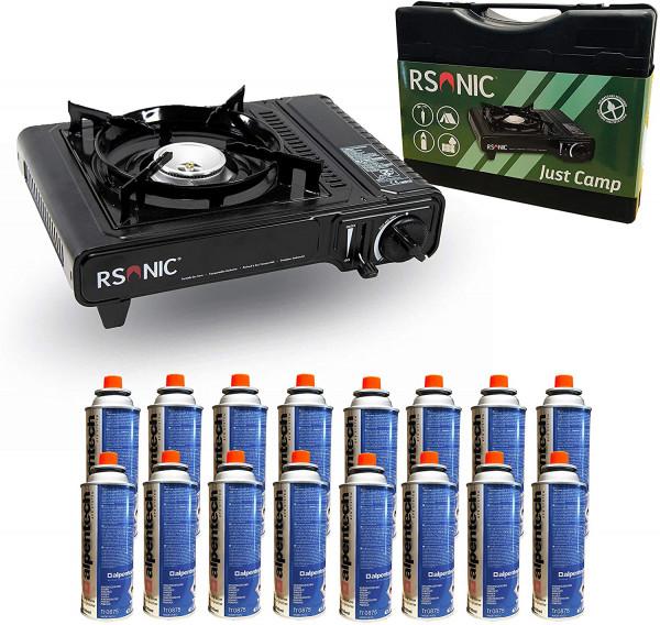 Gaskocher mit Koffer inklusive 16 Gaskartuschen | Ideal für Camping oder Fondue | Überhitzungsschutz