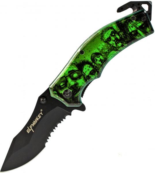 Klappmesser Zombie Apokalypse Design    Survival Outdoor Taschenmesser   Sägeklinge Einhand-Rettungsmesser