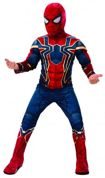 Spiderman Kostüm | 2-teilig: Overall mit Muskeln aus Schaumstoff & Maske mit extra langem Kragen | Kinder & Jugendliche