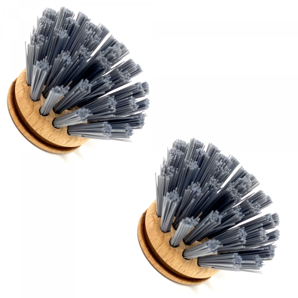 Ersatzköpfe 2x für Spülbürste |FSC-Holz, harte Synthetik-Borsten | austauschbarer Bürstenkopf