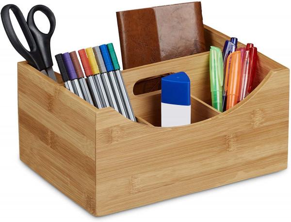 Schreibtischorganizer Bambus, Stifteköcher, 4 Fächer, Griff, natürliche Maserung, HxBxT: 12x25x8cm