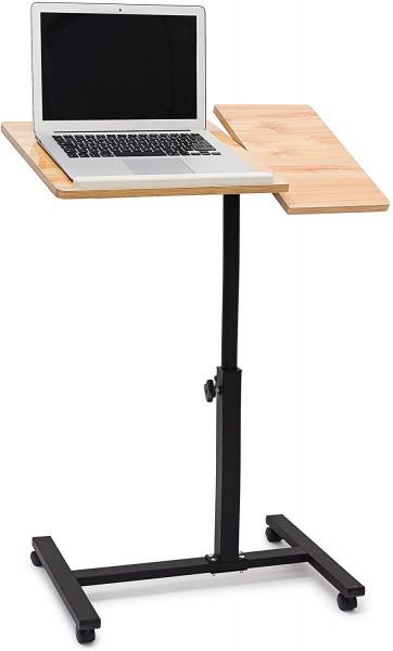 Laptoptisch höhenverstellbar, Laptopständer Holz, mit Rollen, drehbar, HxBxT: 95 x 60 x 40,5 cm
