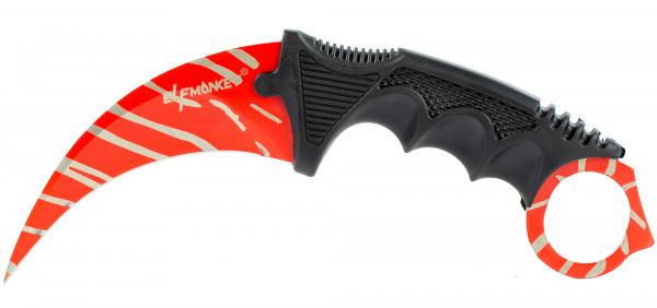 Karambit Zebra Tarn Design in Rot & grau | extra scharf | Taschenmesser Angelmesser Jagdmesser Survival Outdoor