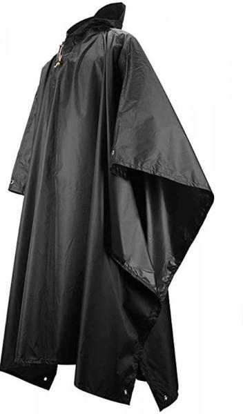 Multifunktionaler Regenponcho in schwarz | Regencape | Regenmantel | Picknickdecke oder Sonnensegel | Fahrrad oder Camping | Outdoor Regenschutz