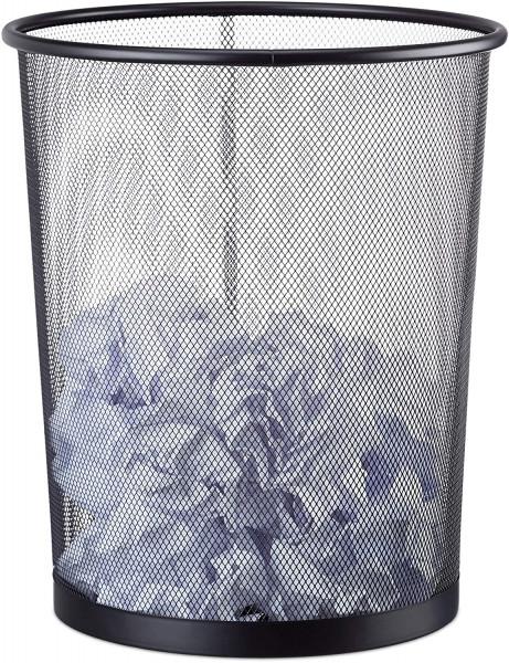 Papierkorb Metall, großer Papiereimer fürs Büro, Mülleimer Mesh 20 Liter, Draht, 30 cm Ø, 35 cm hoch