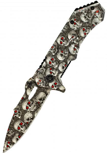 Klappmesser Deadly Skull | Taschenmesser Survival Outdoor | Einhand-Rettungsmesser extra Scharf