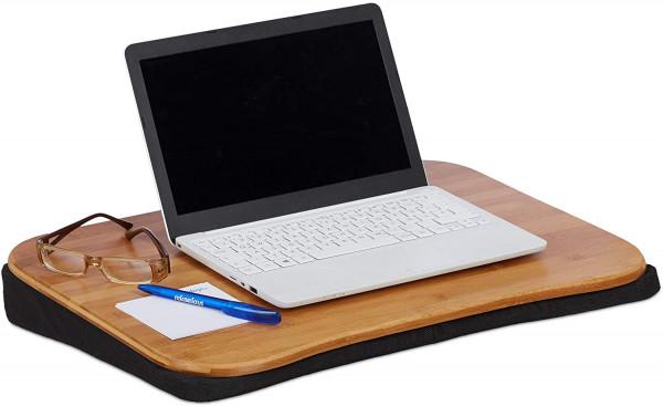 Natur Laptopkissen Bambus, abnehmbares Kissen, Tragegriff, Laptop Unterlage BxT: 51 x 37 cm (bis 22