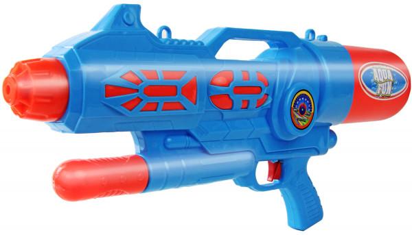Wasserpistole - Spritzpistole mit 60cm Länge | XXL Tank | tolles blau-silber Wassergewehr für mega Wasserschlachten und Pool-Partys |