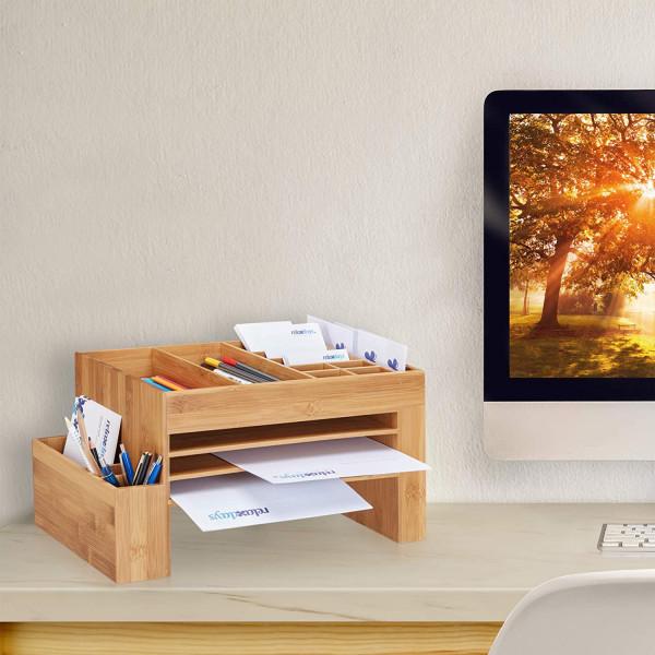 Schreibtisch-Organizer Bambus, Ablagesystem Büro, Aufbewahrungsbox, Briefablage, HBT 20x40x21,5 cm