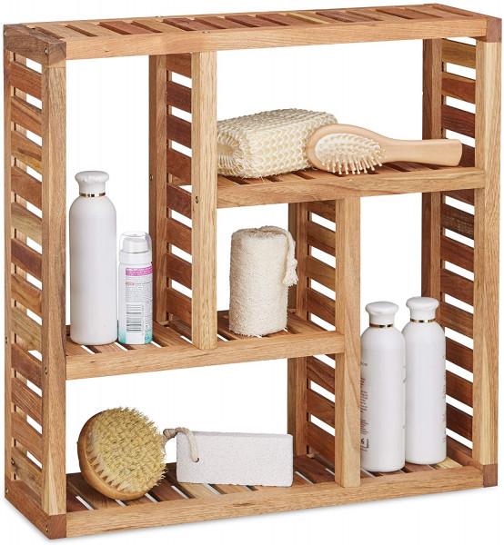 Wandregal Walnuss mit 5 Fächern | Badezimmer, Flur & Wohnzimmer, Stauraum | HxBxT: 50 x 50 x 15