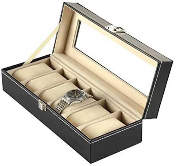 Uhrenkoffer | Uhrenbox | Schaukasten | Uhrenkasten | Uhrenvitrine für Uhren | Leder-Look Echtglas-Fenster