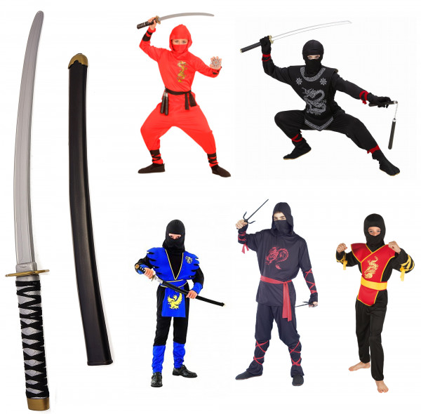 Ninja Kostüm Set | komplettes Kostüm + Katana Schwert | ideal für Kinder (Jungen & Mädchen) | perfekt für Karneval & Fasching