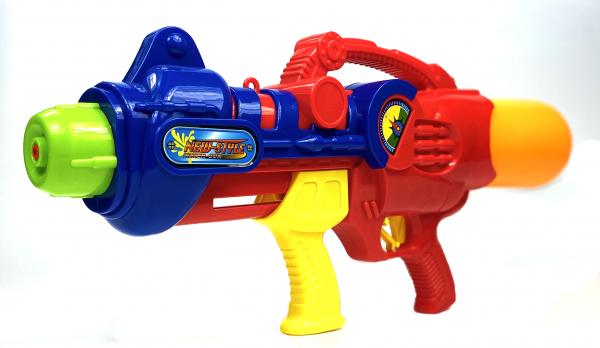 Wasserpistole - Spritzpistole mit 65cm Länge | XXL Tank | tolles blau-silber Wassergewehr für mega Wasserschlachten und Pool-Partys |