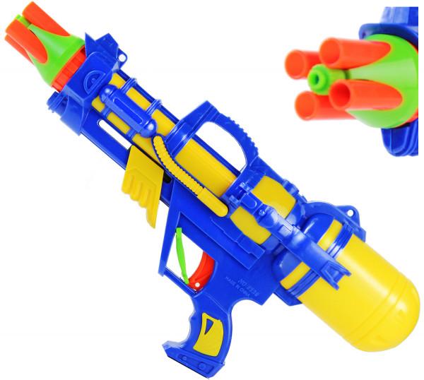 Alien Work Wasser-Pistole 38cm Farblich sortiert Kinder-Spielzeug Gelb Grün Blau Wasser-Spritze Sommer-Spielzeug Spielzeug-Pistole Wasser-Gewehr Aqua-Gun Pool-Kanone Planschbecken-Pistole Garten-Party Spielzeug-Waffe Swimming-Pool-Gun