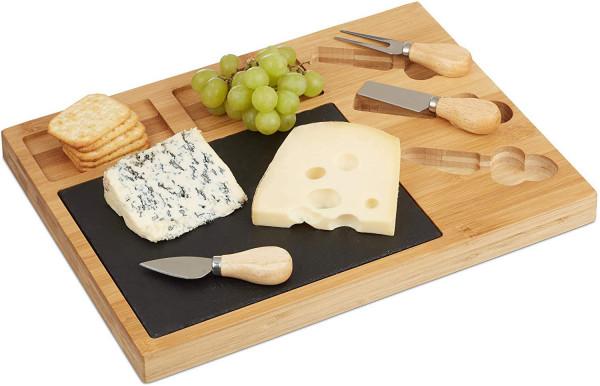Natur Käsebrett Set, Bambus Käseplatte unterteilt, 3 Käsemesser, Schieferplatte, HxBxT: 3 x 40 x 30