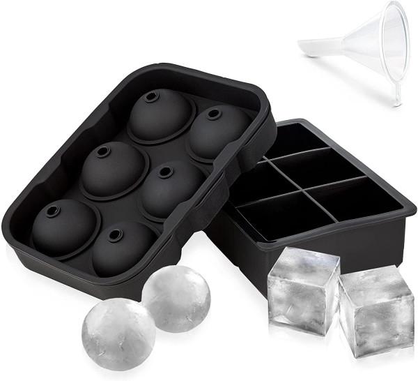 2er Set Eiswürfelformen aus Silikon  Kugelform   quadratische Eiswürfel   Ice-Cube für Cocktails   Whiskeyeiswürfel   runde Eiskugeln   langsames Schmelzen   leicht zu lösen  perfekte Form ohne Hohlraum   Sommergetränk   Poolparty  Eiskasten  