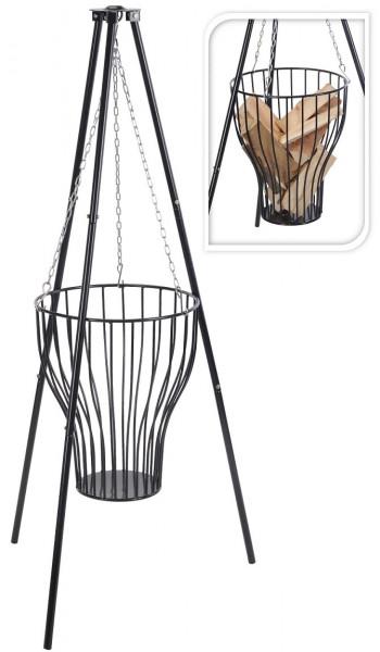 Feuer-Korb mit Gestell | Feuer Schale | Garten-Dekoration | mobile Feuerstelle | Hänge-Korb | Dreifuß aus Stahl 80cm