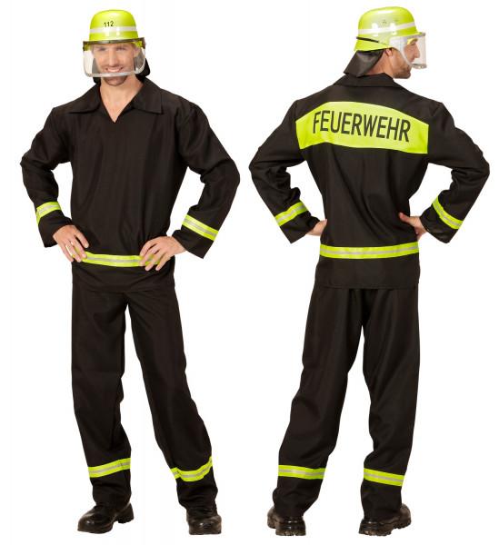Feuerwehr Kostüm Set für Herren | 3-teilig: Helm, Jacke, Hose | Größe 52/54 | ideal für Karneval & Fasching | Jungendlich & Erwachsene | authentische Verkleidung der Alltagshelden