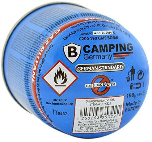 Stechgaskartusche Butan 190g mit Gasblocksystem | Campinggas | für Campingkocher und Campinglampen oder Fondue
